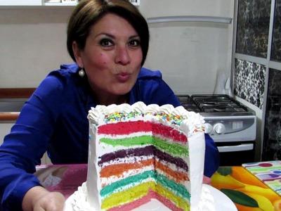 TORTA ARCOIRIS PASO A PASO - Silvana Cocina y Manualidades