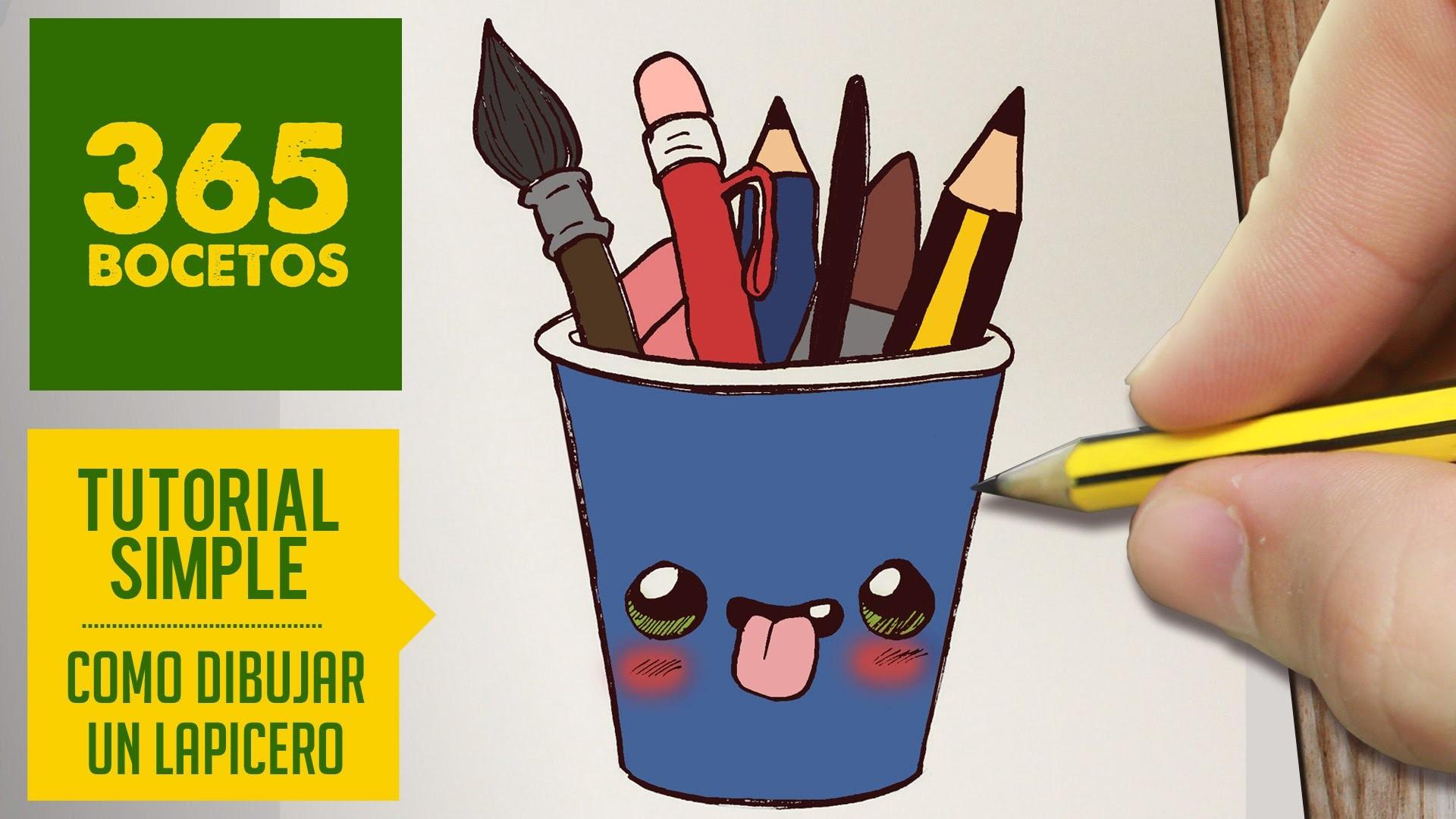 COMO DIBUJAR UN LAPICERO KAWAII PASO A PASO - Dibujos kawaii faciles - How to draw a pencil pot