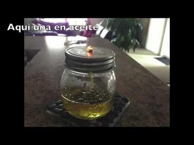 Como hacer lamparas en aceite o en alcohol con envases que tengamos en casa