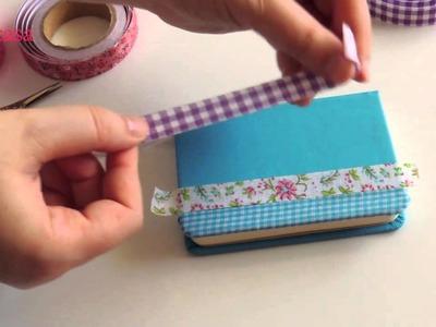 DIY como decorar tu libreta con fabric tapes. Notebook with fabric tapes.