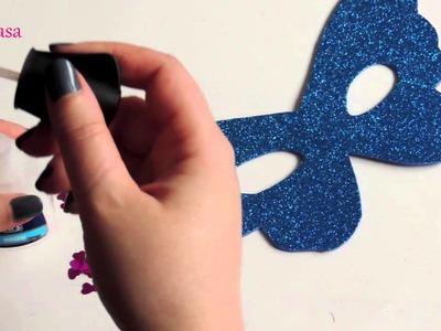 DIY Como hacer una antifaz de goma eva. Manualidad para niños.