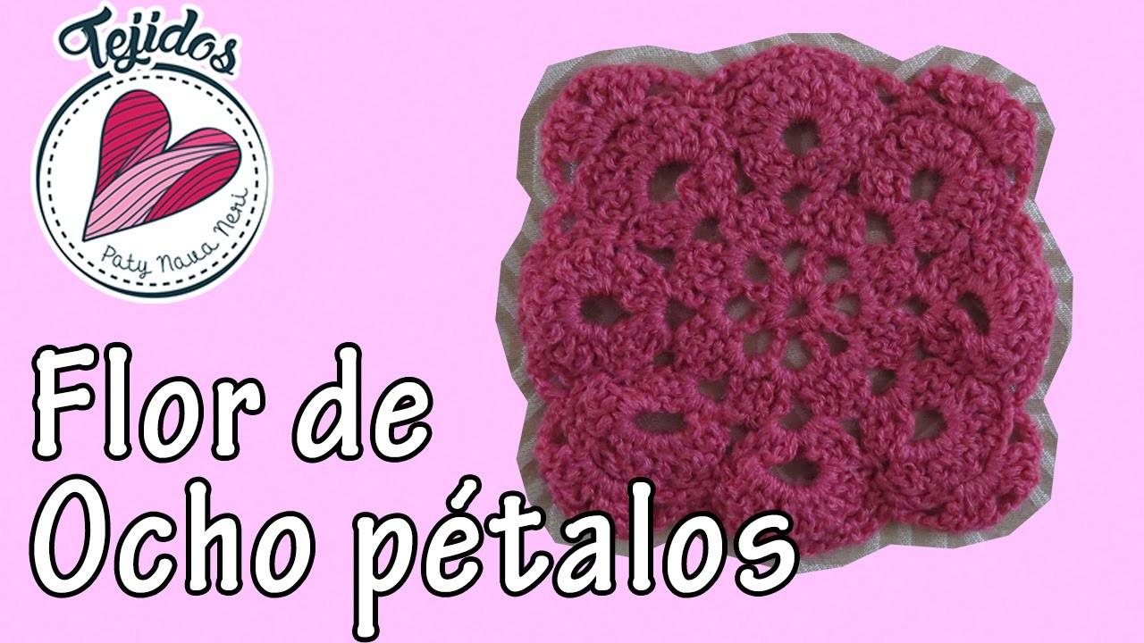 """""""Flor de 8 pétalos"""" Tejidos en cuadrito Cap. 5"""