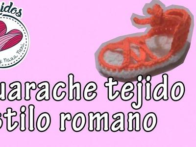 Huarache para niña tejido a crochet estilo romano