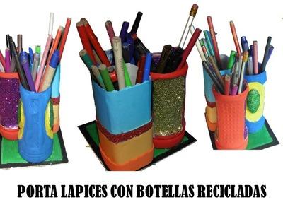 Manualidades con reciclaje - reciclaje de plástico (Porta lapices)