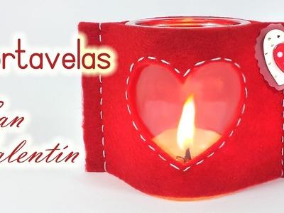 Manualidades para San Valentín: PORTAVELAS de fieltro - Innova Manualidades