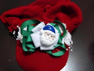 Moños navideños en cinta de raso  para decorar gorros No.174 Manualidades la Hormiga