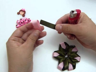 Moños y flores en cinta para el cabello paso a paso video NO.  266 Manualidades la Hormiga