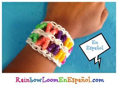 Rainbow Loom en ESPAñOL - Pulsera de Gomita X -  DIY