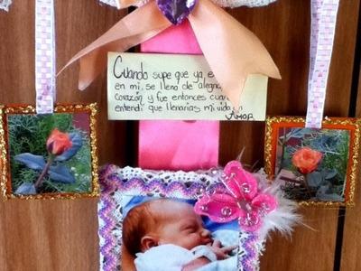 Colgante para Bienvenida de Bebe recién nacido hanger baby phonto encaje listón