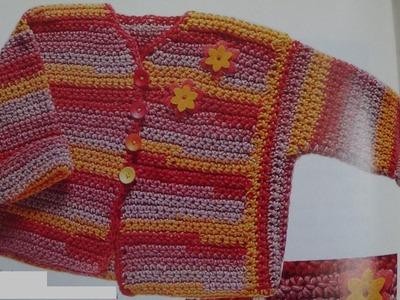 Como hacer chaqueta para bebé multicolor tejida a crochet