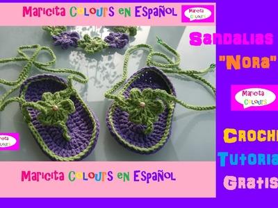 """Crochet Sandalias Bebé """"Nora"""" (Parte 1) diseñada por Maricita Colours"""
