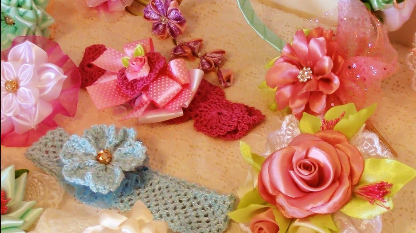 DIY accesorios de moda tips  flores Kanzashi, diademas ,moños, ganchos