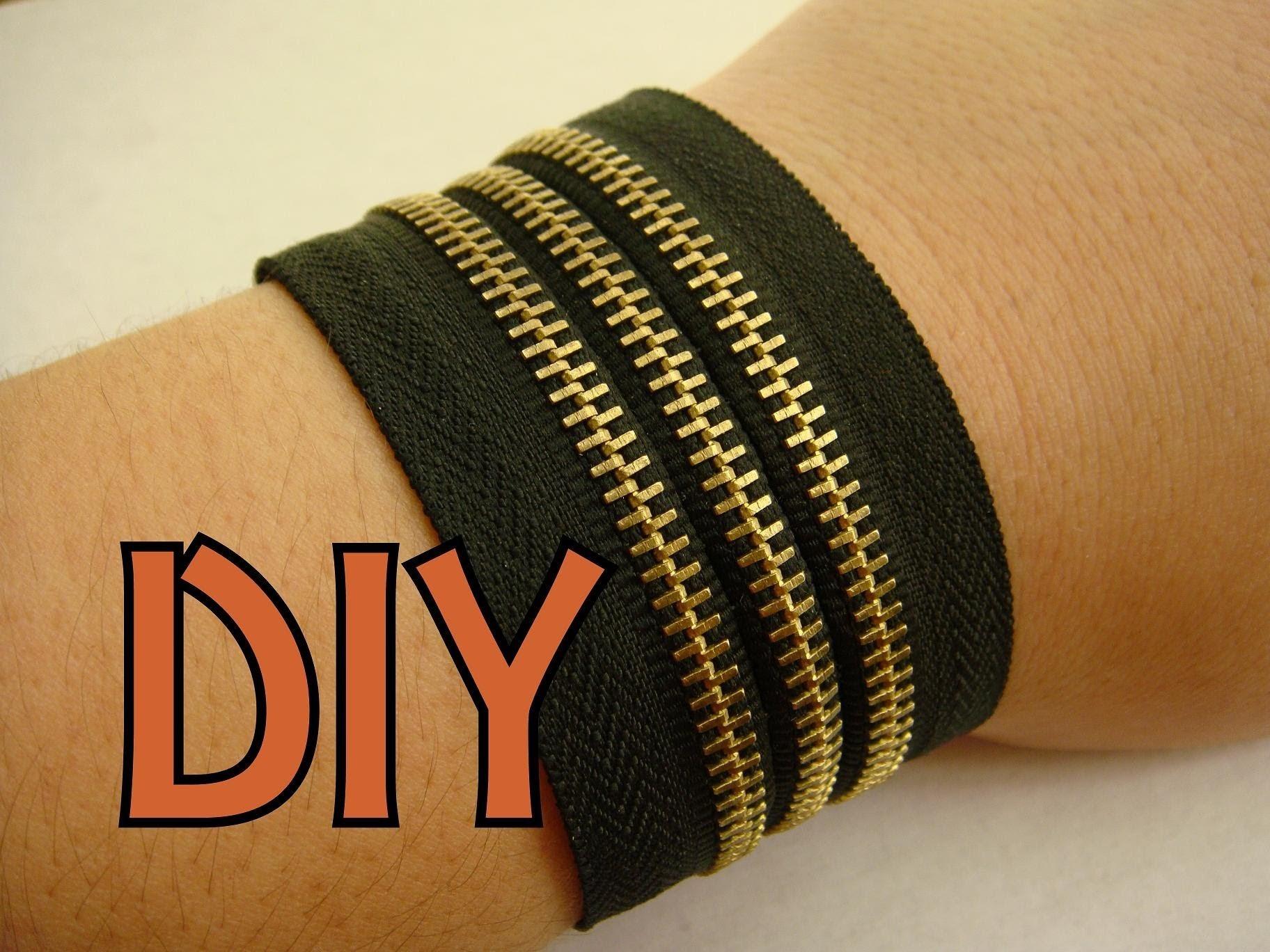 DIY: Pulsera NEGRA de cierres. Zipper bracelet.