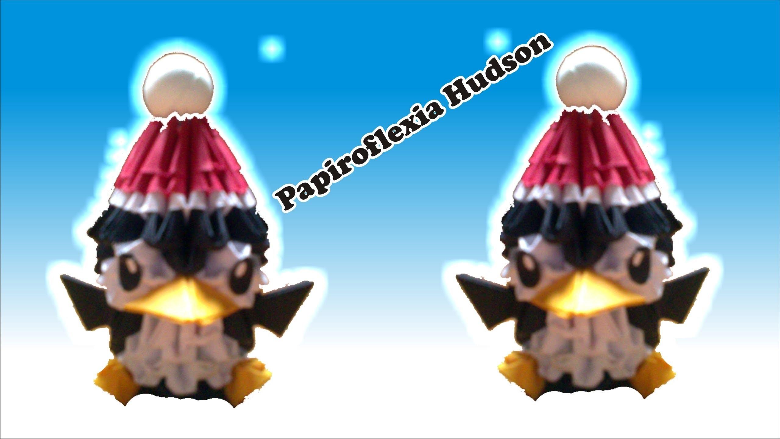 Origami 3D Pinguinito o Pinguinito Navideño (Especial Navideño)