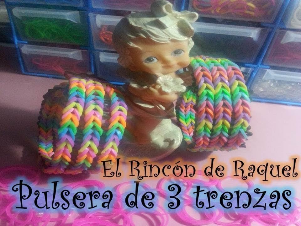 Pulsera de triple trenza con gomitas rainbow loom