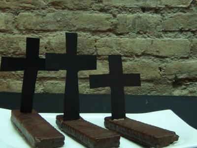 Tumbas dulces con barritas de chocolate - Chocolate Halloween Graves - Halloween