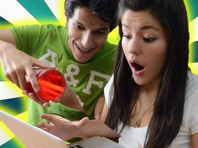 Broma: Se me cae el agua en tu laptop | Bromas graciosas, videos de risa, sustos, accidentes