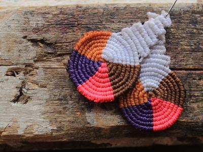 Como hacer aros macrame cavandolli multicolor