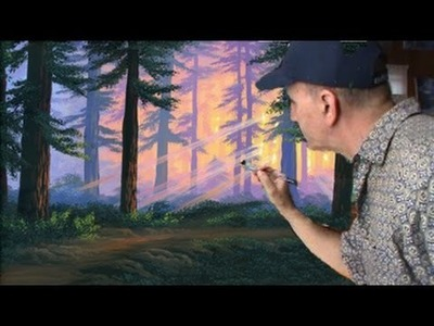 Cómo pintar un bosque Completo al atardecer con acrílico sobre tela