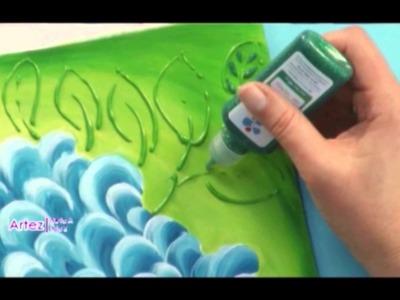 Acrílicos Decorativos Premium y Dimensional Glitter sobre Bastidor - Rosana Ovejero en Arte