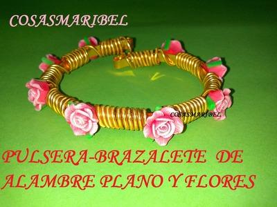 Artesanía de la bisutería;Pulsera de alambre plano y flores.
