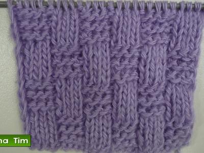 Clase de tejido con dos agujas para los principiantes. Punto AJEDRÉZ # 221