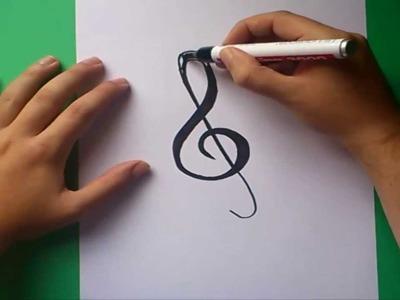 Como dibujar una clave de sol paso a paso | How to draw treble clef
