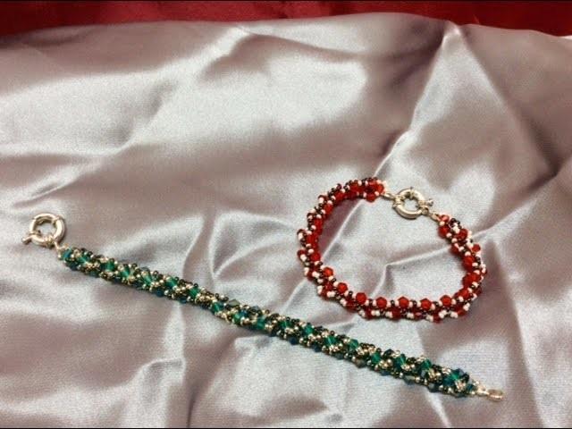 Como hacer pulsera con TUPIS SWAROVSKI Y ROCALLA MILLUKI-Swarovski bracelet Tupis