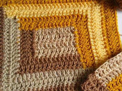 Cuadro tejido en crochet log cabin