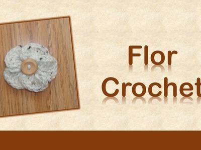 Flor crochet (ganchillo)  con botón