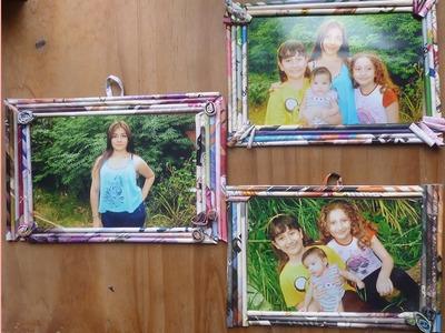 ¡Haz marcos para fotos con papel reciclado! manualidad 2015.