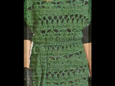 Jersey calado con cinturón a crochet