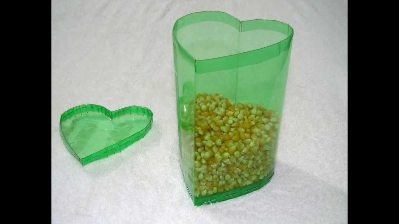 Manualidades - Caja en forma de corazón hecha con botellas