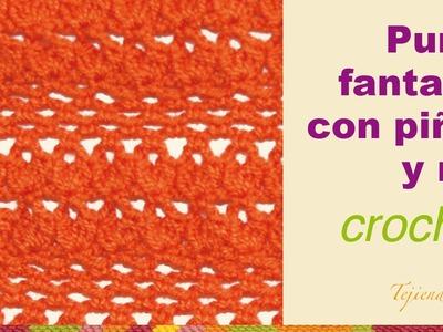 Punto fantasía # 55 tejido a crochet: piñas en punto red