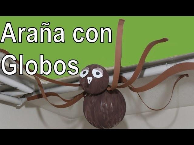 Araña con globos para halloween. Spider balloon