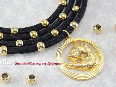 Como hacer un collar cuero negro y dije jaguar (ENGLISH CC)