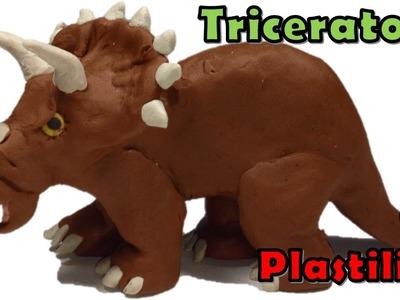 Como hacer un dinosaurio triceratops de plastilina. how to make a clay triceratops