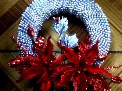 DIY corona navideña con perlas nochebuena  Christmas wreath
