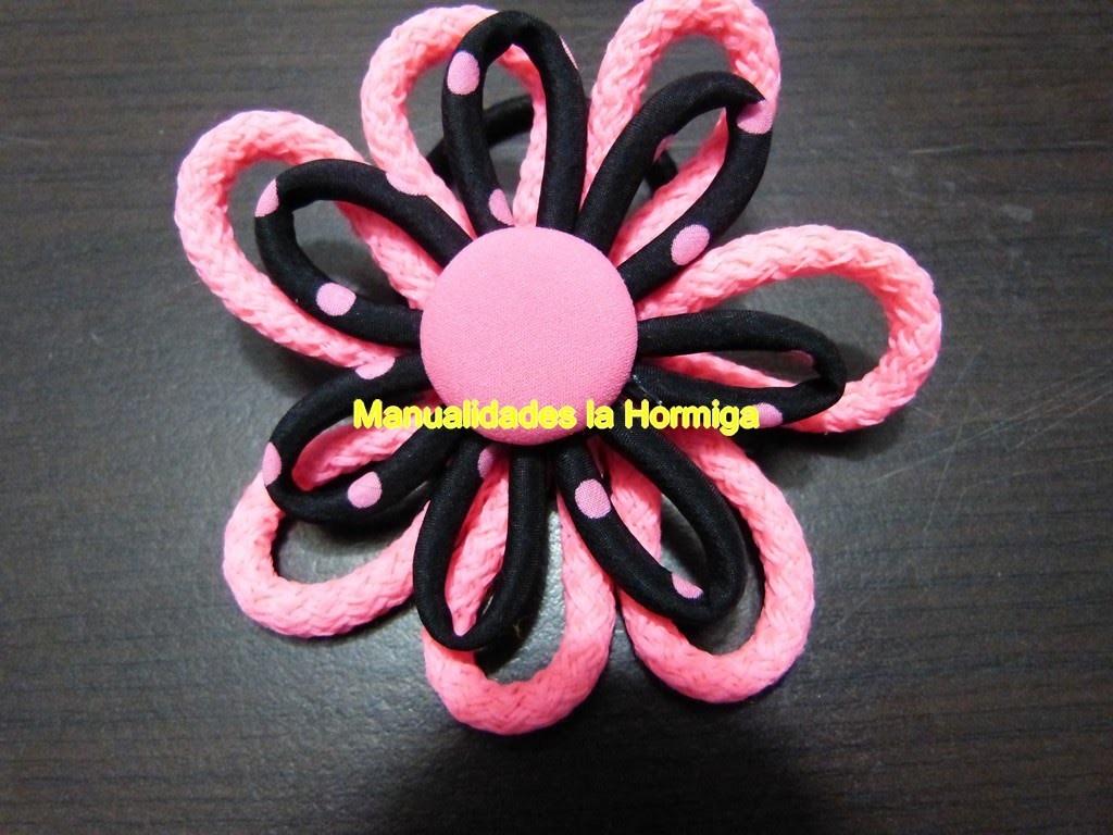 Flores para el cabello en cordon de algodon.flowers produced in cordon