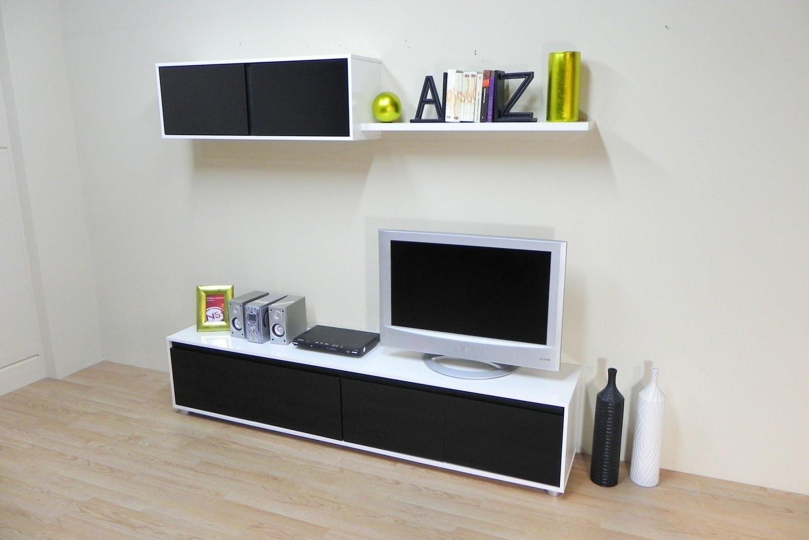 Mueble salon comedor economico (Blanco combinado Negro ref ...