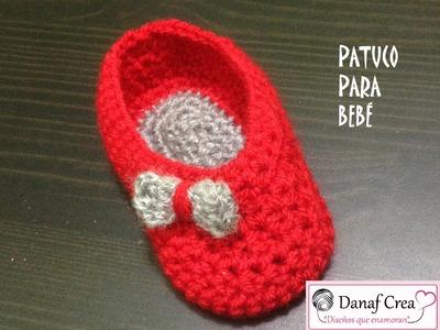 Tutorial de patucos de bebé a crochet. Versión diestros