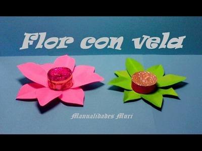 Manualidades. Flor decorativa para centro de mesa con vela, muy fácil