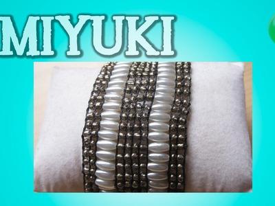 Brazalete marron con perlas | Miyuki | Tutorial | Es.Pandahall.com