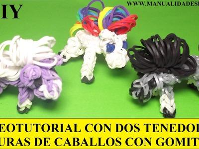 COMO HACER UN CABALLO DE GOMITAS (LIGAS) (HORSE CHARMS) CON DOS TENEDORES. TUTORIAL DIY