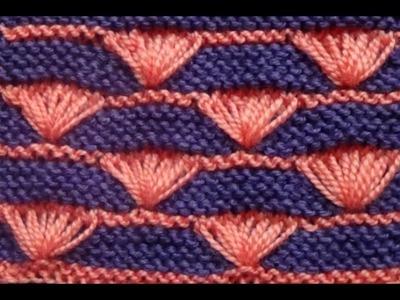 Cómo Tejer Abanicos en Colores 2 Agujas (236)