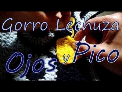 Cómo tejer un gorro lechuza: ojos y pico (owl earflap hat: eyes and beak) -tejido para zurdos-