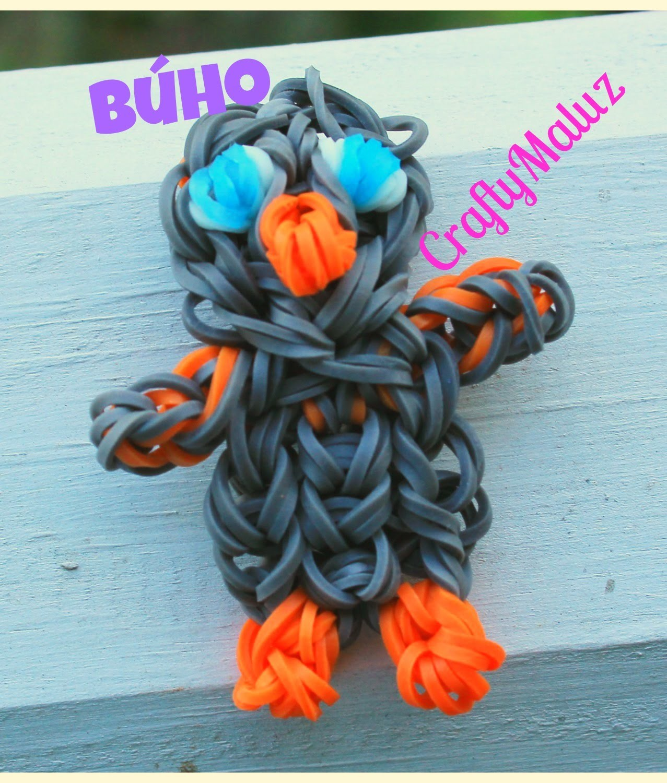 Tutorial:♥ Búho de gomitas (con telar) Rainbow Loom OWL Charm