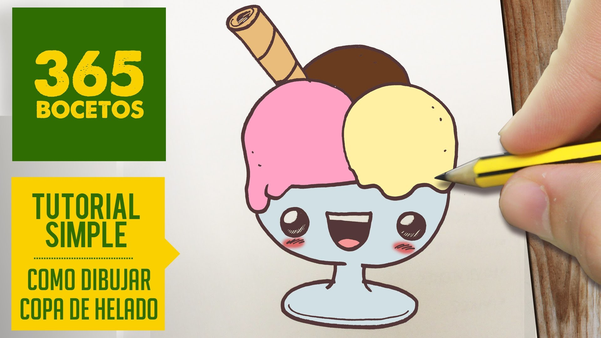 COMO DIBUJAR UN COPA DE HELADO KAWAII PASO A PASO - Dibujos kawaii faciles - How to draw a sundae
