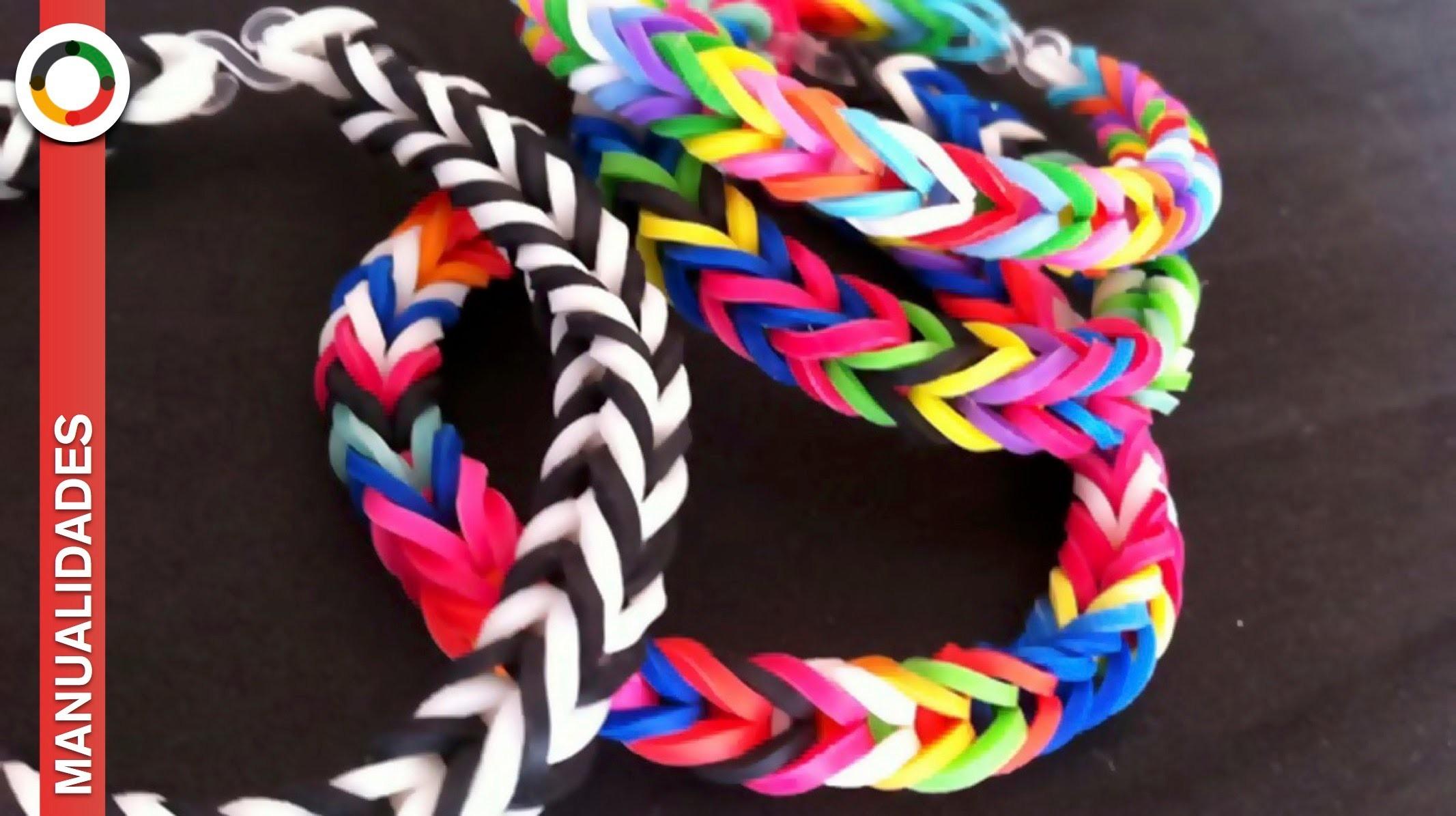 COMO HACER PULSERAS DE GOMITAS O LIGAS -Sin telar-  Pulseras Rainbow loom