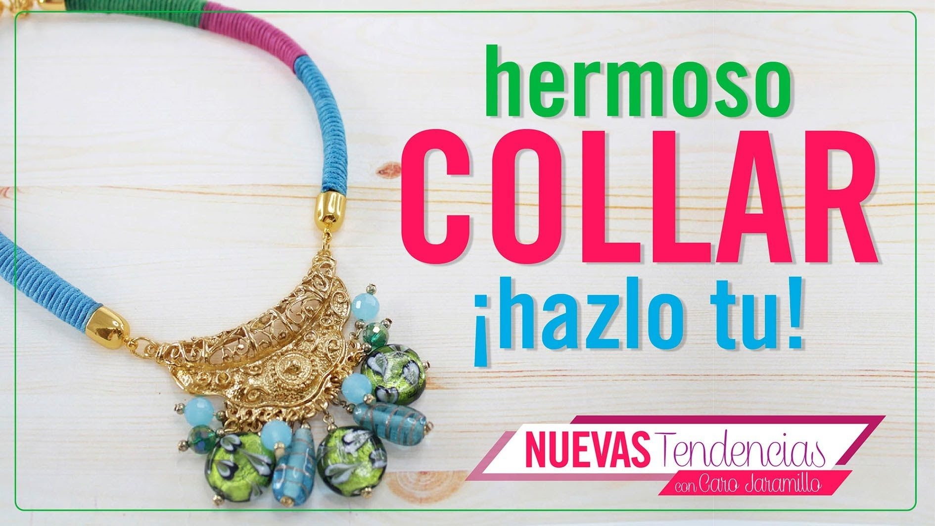 Como hacer un collar con wax cord de colores e indian glass con Caro Jaramillo Episodio 6. Kit 23179